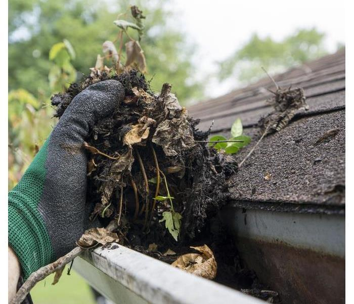 Hand with a glove cleaning a clogged gutter
