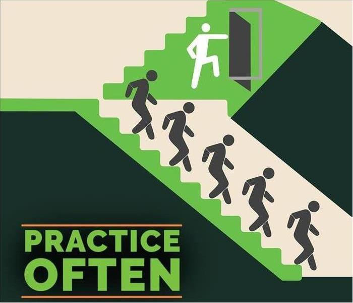 People walking down on the evacuation stairs - Text on image that says PRACTICE OFTEN